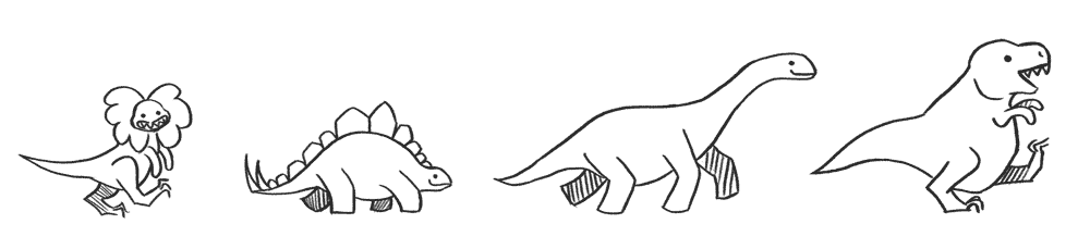 Test the Web Forward mascots: dinosaurs.